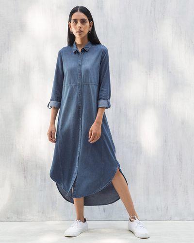 ecfcad4388 Pristine Long Shirt Dress - Blue