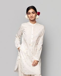Outhouse Mid-length Kurta - Ivory