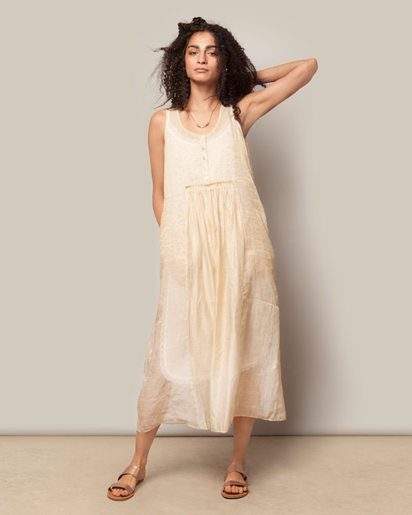 Pleated Chanderi Dress - Gold