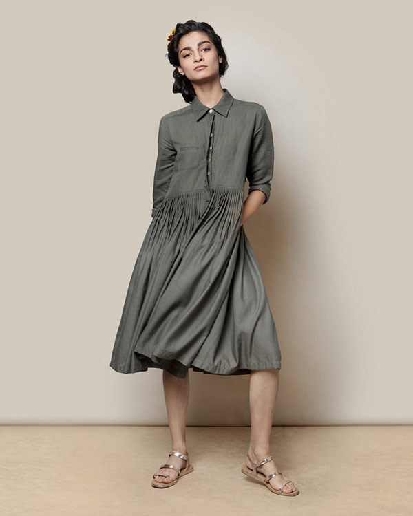 Pleated Shirt Dress - Charcoal