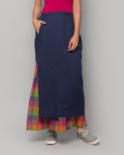 Layered Midi Skirt - Indigo & Multi Check