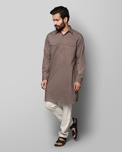 Nizamuddin Pathan Kurta - Brown