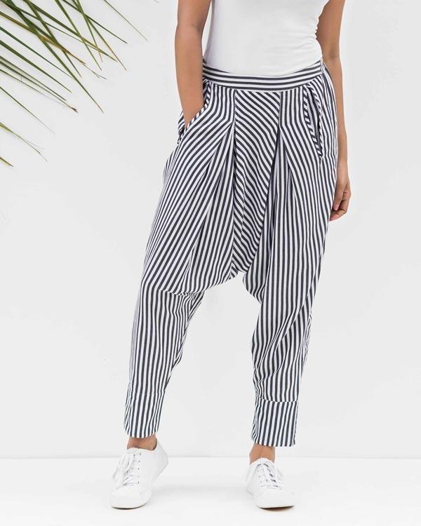 Drop Crotch Pants - Black & White