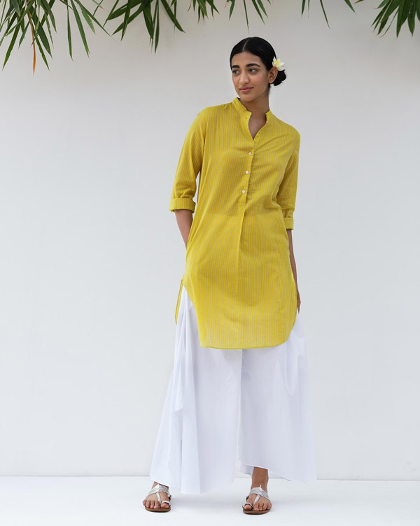 Basic Mid-Length Kurta - Yellow