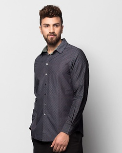 Jaali Bloom Shirt - Navy