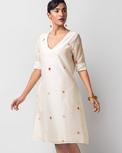V-Neck Shift Dress - Ivory