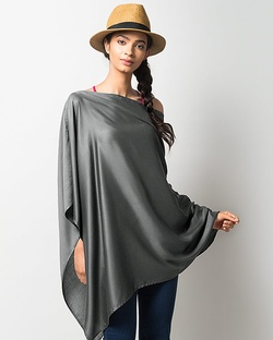 Waterfall Poncho - Charcoal