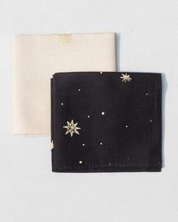 Peony & Stars Pocket Square - Ivory & Black(Set of 2)