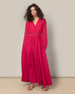 Pleated Wrap Dress - Fuchsia