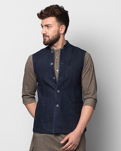 Denim Nehru Jacket - Blue