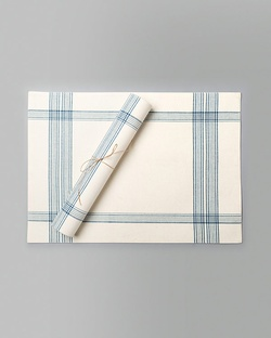 Riku Placemat (Set of 2) - Ivory & Blue