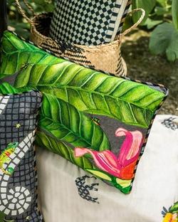 Madagascar Foliage Lumbar Cushion - Charcoal