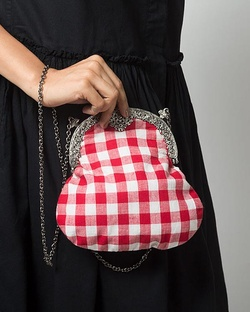 Gingham Red Clutch