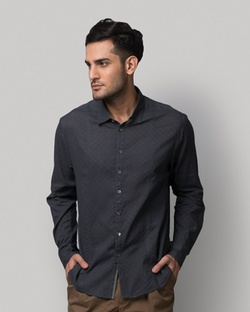 Jaali Bloom Shirt - Navy