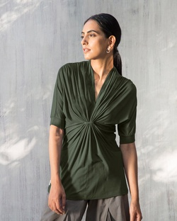 Gathered Jersey Top - Olive