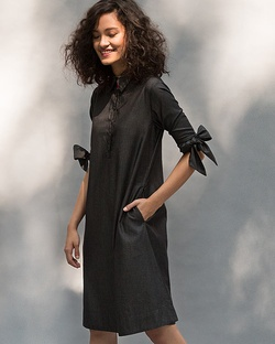 Bow Tie Shift Dress - Charcoal
