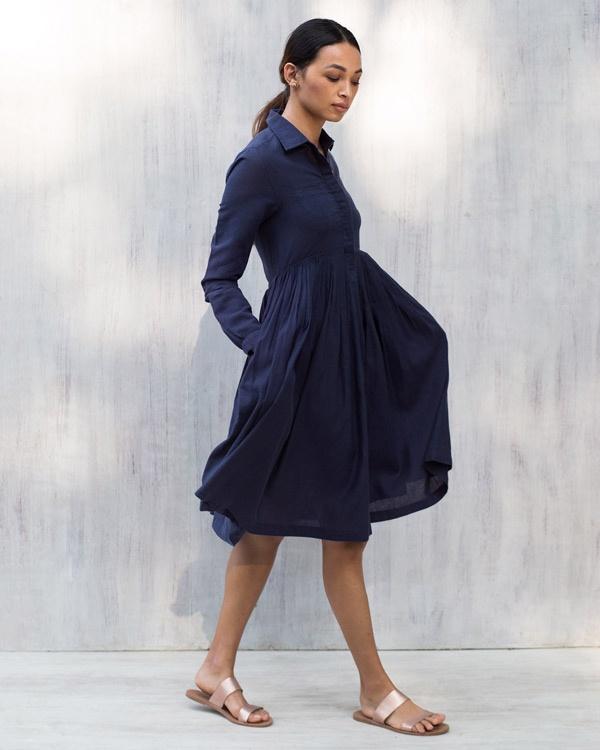Pleated Shirt Dress - Blue