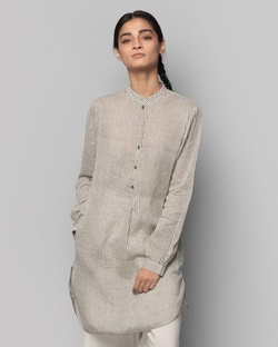 Pewter Mid-Length Kurta - Charcoal Stripe