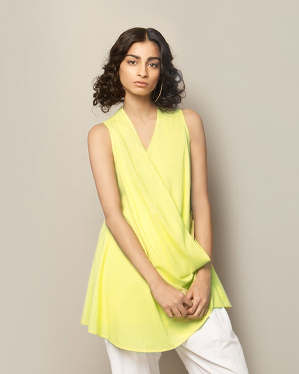 Wrap-front Top - Lime