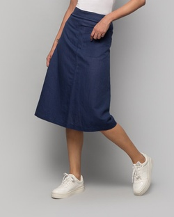 Linen Cotton Skirt - Indigo