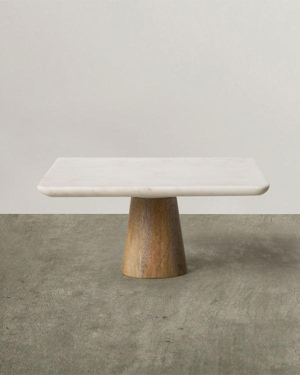 Marble & Wood Cake Stand - Small