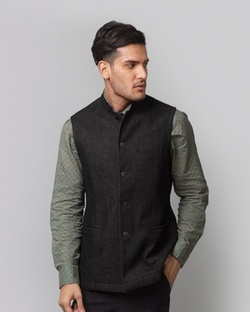 Denim Nehru Jacket - Black