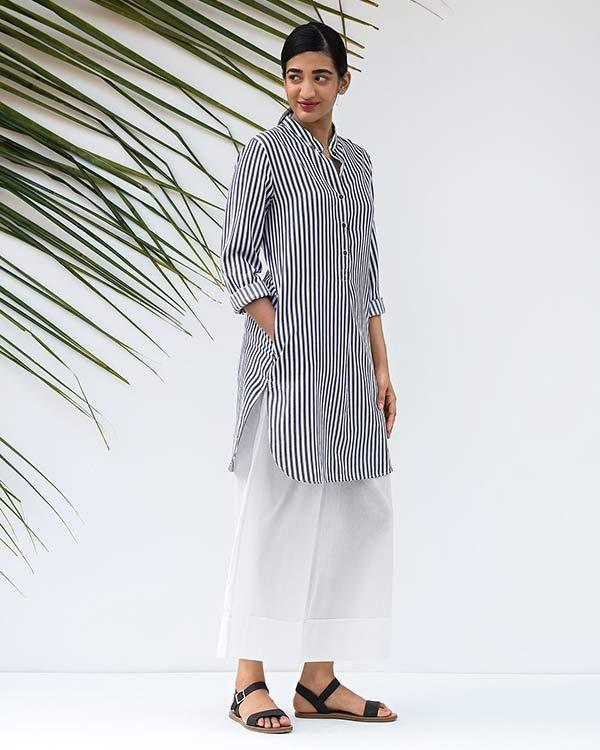 Classic Mid-Length Stripe Kurta - Black & White