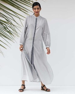 A Good Opening Check Kurta - Black & White