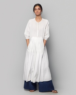 Pleated Waist Kurta - White