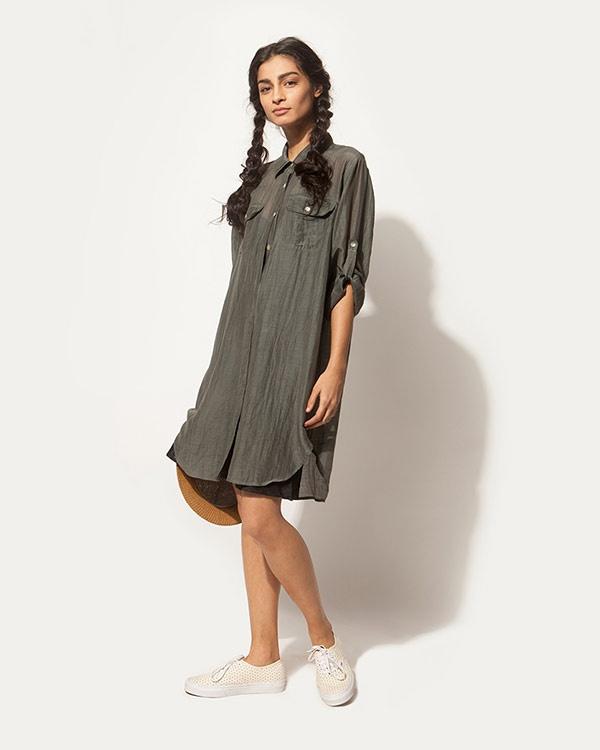 Shibui Shirt Dress - Charcoal