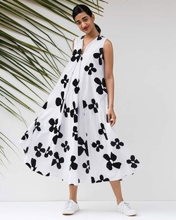 Trapeze Flower Print Dress