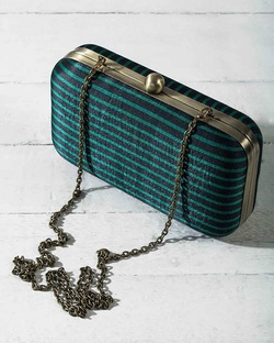 Martini Clutch - Emerald & Black