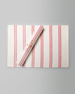 Shima Placemat (Set of 2) - Ivory & Red