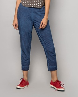 Narrow-hem Pants - Indigo