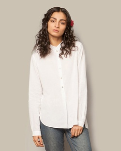 ​Mandarin Collar Top - White