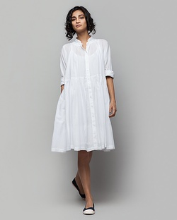 Miya Button-front Plain Dress & Slip Set
