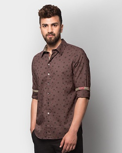 Luvia Abstract Print Shirt - Brown