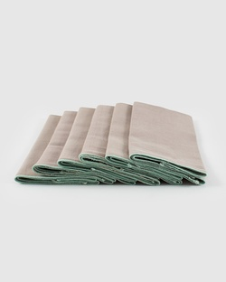 Verandah Dinner Napkins (Set of 6) - Soft Grey & Aqua