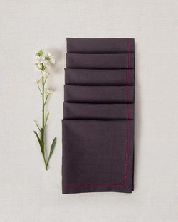 Verandah Cocktail Napkins (Set of 6) - Charcoal & Fuchsia