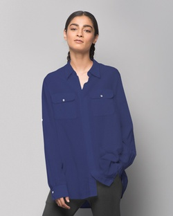 Ukiyo Cotton Silk Shirt - Indigo