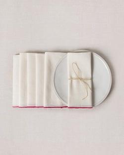 Verandah Dinner Napkins (Set of 6) - Ivory & Fuchsia