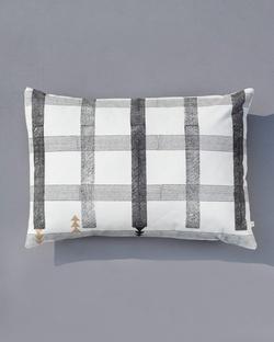 Check Stripe Lumbar Pillow - Black & White