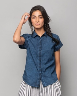 Raglan Sleeves Shirt - Indigo