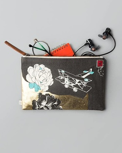Aviator Pouch - Charcoal & White