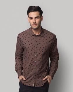 Luvia Abstract Print Shirt - Brown