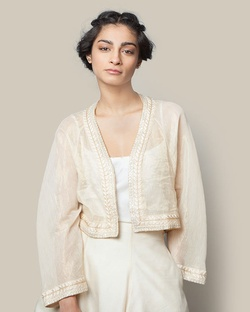 Embroidered Chanderi Jacket - Gold