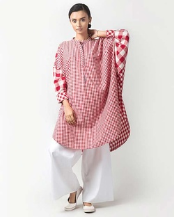 Lazy Sunday Tunic - Red Check