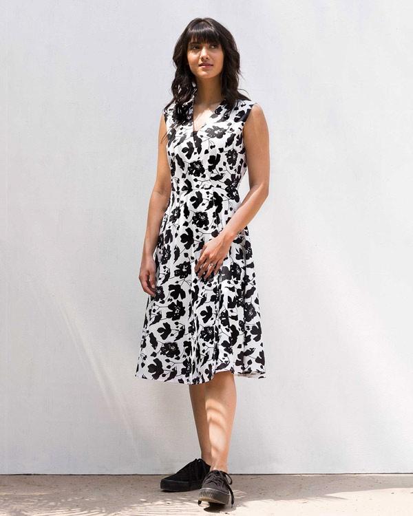 Wrap Dress - Black & White