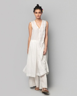 Pieced Khadi Kurta - Ivory