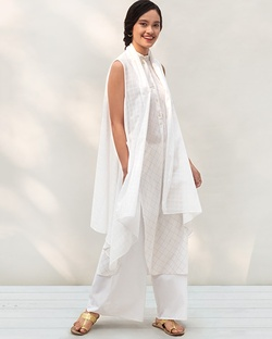 Gilded Long Kurta - White & Gold